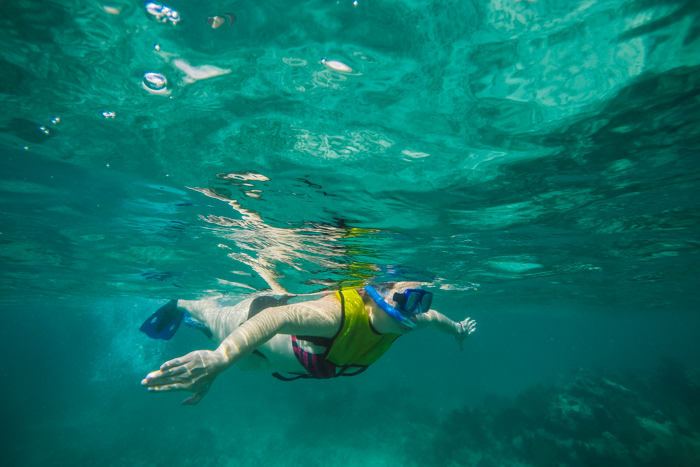 snorkeling bride destination wedding mexico