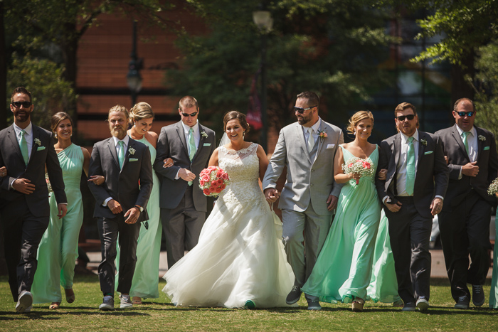 bridal party walk, group picture