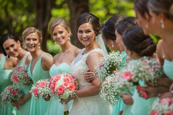 mint green bridesmaid dresses, pink and green wedding