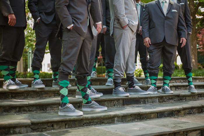 green and grey wedding, green argyle socks