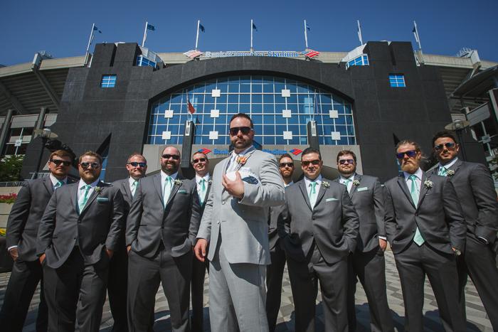 bank of america stadium, groomsmen group picture, groomsmen panther fans