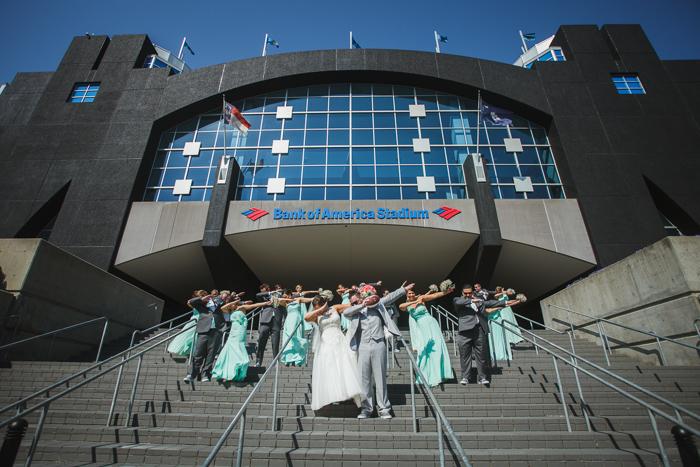 bank of america stadium, wedding panther fans, wedding dab
