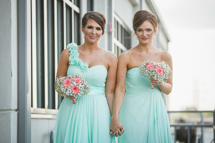 mint green bridesmaid dress, green and pink wedding, Roof with a View