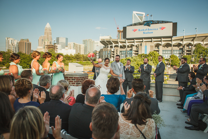 Roof with a View charlotte ceremony, mint green bridesmaid dresses