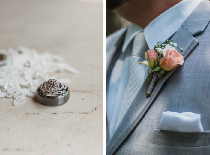 wedding rings stacked pink rose boutonniere