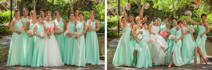 bridesmaids group photo, the green charlotte, uptown wedding