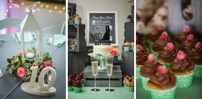 mint green wedding, green wedding cupcakes, rasberry cupcakes, green and pink wedding decor