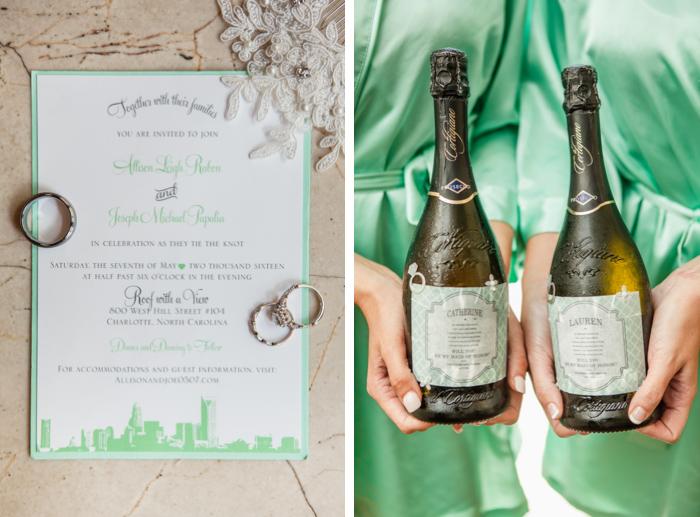 charlotte invitation, mint green wedding invitation, Il Cortigiano Prosecco wedding